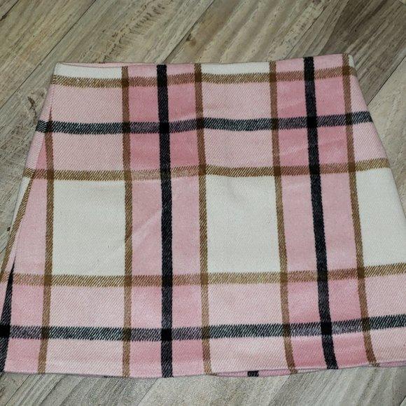 Forever 21 Pink/White Plaid/Tartan Mini Skirt